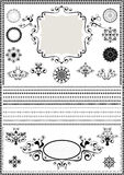 Collection luxury borders and circular ornaments on white background Stock Image