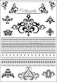 Collection luxury calligraphy borders and ornaments on white background Stock Images