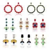 Collection of luxury diamond earrings Stock Photos
