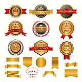 Collection of luxury gold badges and logos. Vector labels set for yours personal design projects. Gold badge and label quality and premium golden illustration stock illustration