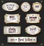 Collection of luxury golden design elements badges labels and laurels. Set of luxury golden design elements badges labels and laurels stock illustration