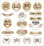 Collection of luxury golden design elements badges labels and laurels. Set of luxury golden design elements badges labels and laurels royalty free illustration