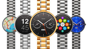 Collection of luxury smart watches Royalty Free Stock Photo