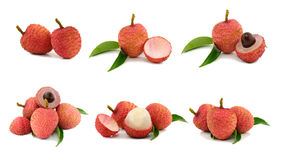 Collection of 6 lychee images. Stock Photo