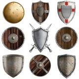 Collection médiévale #3 de boucliers d'isolement Photos stock