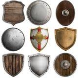 Collection médiévale de boucliers d'isolement sur le blanc Image stock