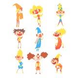 Collection médiévale de clowns et d'imbéciles de Jester Characters With Painted Faces stylisé puéril et d'équipements classiques Photographie stock