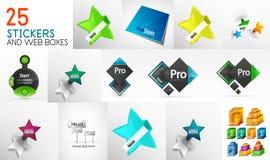 Collection méga d'autocollants, d'étiquettes, de boutons et de boîtes de papier de web design Photographie stock libre de droits