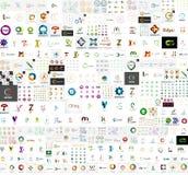 Collection méga de conceptions abstraites de logo de société Photographie stock