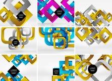 Collection méga de milieux d'abrégé sur vecteur de la forme 3d avec les documents géométriques séparés du style 3d - lignes, plac illustration libre de droits