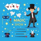 Magician with hat and playing cards. Stock Image