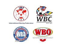 Collection of main world professional boxing organizations logos stock photo