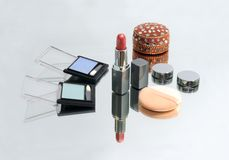Collection of make-up products and jewel-box Royalty Free Stock Images