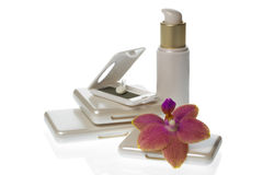 Collection of make up products on white background Royalty Free Stock Images