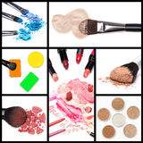Collection of makeup cosmetics Stock Photography