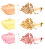 Collection of makeup powder on white background Stock Images