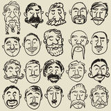 Collection of male faces with mustache Stock Images