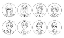 Collection of male and female anime or manga cartoon characters or avatars hand drawn with black contour lines on white. Background. Set of portraits of young Royalty Free Stock Image