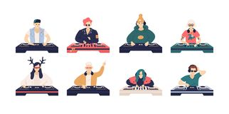 Collection of male and female DJ`s isolated on white background. Bundle of cute funny disc jockeys playing music records stock illustration