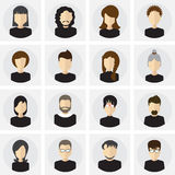 Collection of male and female faces avatars in flat style.  icons set Stock Photography