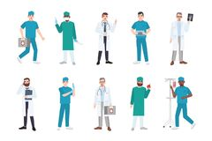 Collection of male medical workers dressed in white coats and scrubs - doctor or physician, paramedic, nurse, surgeon. Laboratory assistant, emergency medic Royalty Free Stock Photos