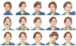 Collection of male teenager portraits. Isolated on white Stock Photography