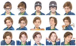 Collection of male teenager portraits Stock Photos
