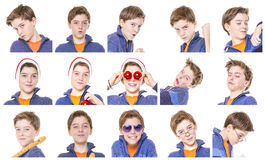 Collection of male teenager portraits Stock Images