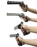Collection of man hand holding gun Royalty Free Stock Photography