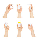 Collection of man's hands with a bottle Stock Photography