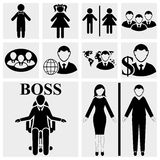 Man & Woman vector sign. Human resources and manag Royalty Free Stock Photos