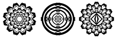 Collection of mandala in black isolated Stock Photo