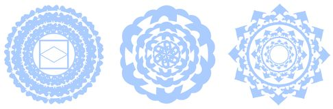 Collection of mandala in blue isolated Stock Photos