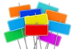 Collection of Many Colorful Blank Signposts. 3d Rendering. Collection of Many Colorful Blank Signposts on a white background. 3d Rendering Royalty Free Stock Photography