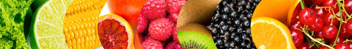 Collection of many colorful fresh fruits and berries stock images