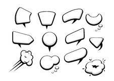 Set of many comic cartoon style speech bubbles Stock Image