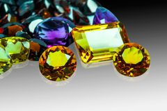 Collection of many different natural gemstones amethyst,Citrine, Blue topaz,Peridot,Garnet stock photos