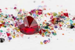 Collection of many different natural gemstones. Royalty Free Stock Photo