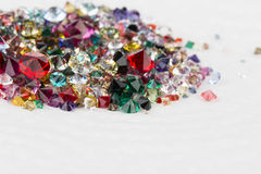 Collection of many different natural gemstones. Royalty Free Stock Images