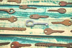 Collection of many different old retro keys stock image