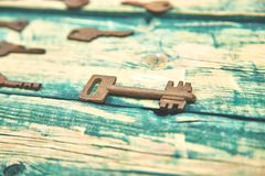 Collection of many different old retro keys stock photo