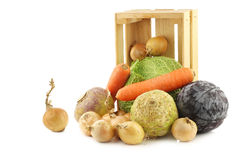 Collection of many fresh winter vegetables in a wooden crate Royalty Free Stock Photos