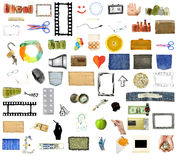 Collection of many objects. Isolated on white background Royalty Free Stock Photo