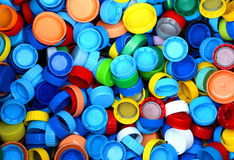 collection of many plastic caps for recycling Royalty Free Stock Photo