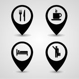 Collection of map pointers icons set great for any use. Vector EPS10. Royalty Free Stock Photo
