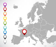 Collection of map pointers with map of Europe. Vector collection of color round 3D map pointers with map of Europe, 9 colors, ESP 10 Royalty Free Stock Photo