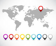 Collection of map pointers with world map Royalty Free Stock Photo