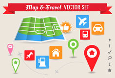 Collection of Map & Travel Icons and Markers. Collection of various map and travel icons and markers, with vector map Stock Photos