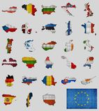 Collection of maps and flags of the European union countries. Illustration Stock Photography