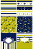 Collection of marine backgrounds in dark blue, yellow and white Royalty Free Stock Images